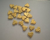 24 tiny hammered heart charms