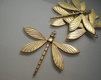 4 extra large brass dragonfly charms