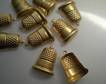 12 brass thimble charms