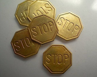 6 brass stop sign charms