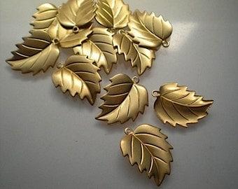 12 brass leaf charms, No. 1