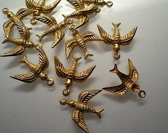 12 small brass bird charms