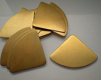 12 flat brass fan shape/quarter circle stamping blanks