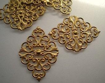 6 fancy brass filigrees