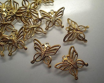 12 filigree butterfly charms
