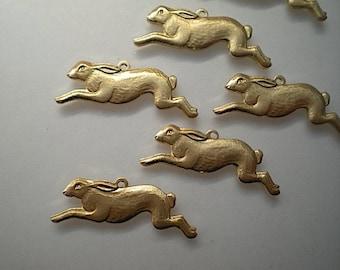 6 brass running rabbit charms