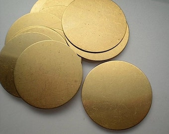 "12 flat round brass discs/ 1-1/2"" stamping blanks"