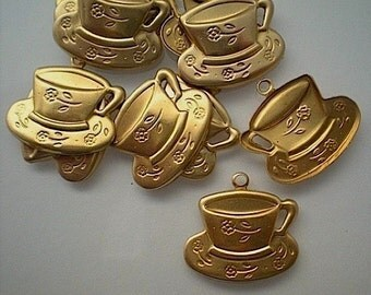 12 brass teacup charms