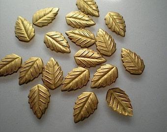18 tiny brass leaf charms, No. 3