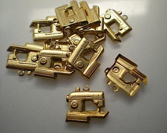 12 brass sewing machine charms