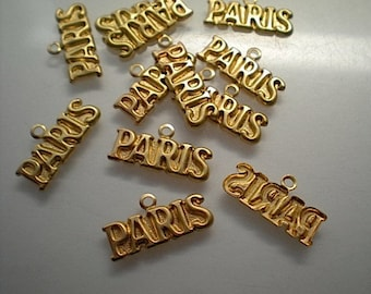 12 brass Paris charms