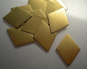12 flat brass diamond stamping blanks