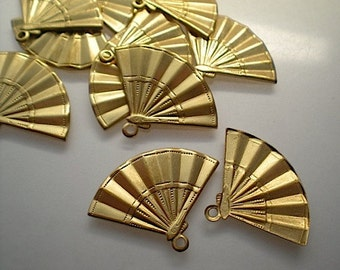 12 brass fan charms