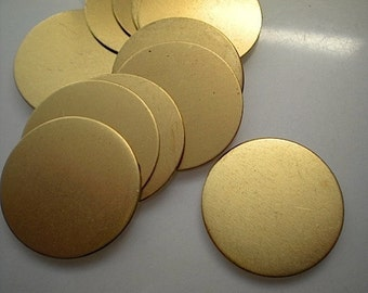 12 flat round brass discs/stamping blanks, 1 inch