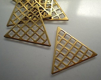 6 flat brass triangle grid stampings