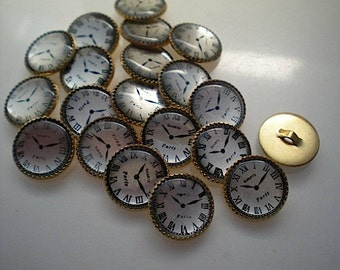 20 Paris clock buttons, 1/2 inch gold backed
