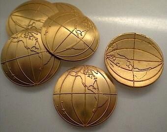 6 brass world globe charms, Western hemisphere