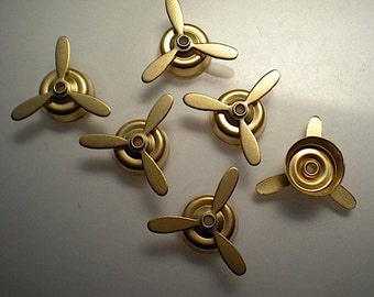 6 brass propeller charms