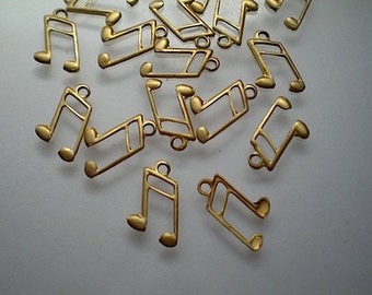 18 tiny brass musical note charms