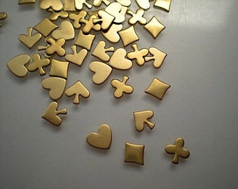 48 tiny heart, spade, club and diamond charms