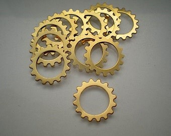 12 small brass open gear charms/stampings