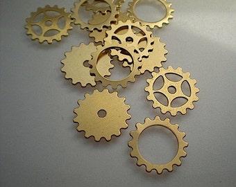 12 small brass gear/sprocket stamping assortment