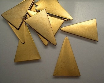12 flat brass tall triangle stamping blanks