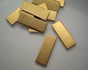 12 flat narrow rectangular brass stamping blanks