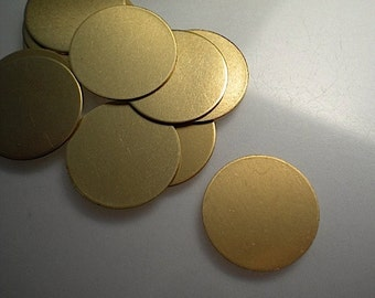 12 round flat brass discs/stamping blanks, 3/4 inch