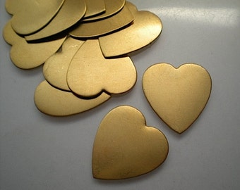 12 medium flat brass heart stamping blanks, 7/8""