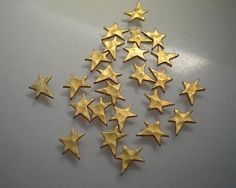 24 tiny hammered star charms