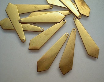 12 long flat brass diamond drops - small stamping blanks