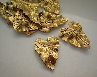 12 medium brass rippled leaf charms