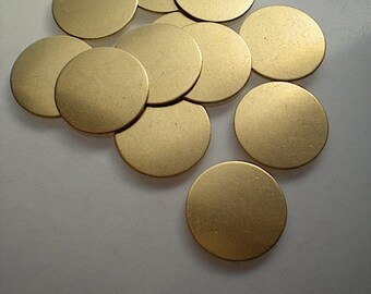 12 flat round brass discs/stamping blanks, 5/8 inch