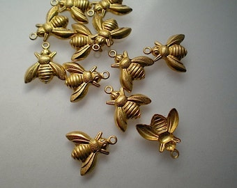 12 tiny brass bee charms