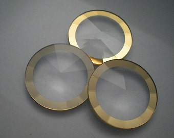 Vintage pyramid faceted watch crystals, 24.5mm