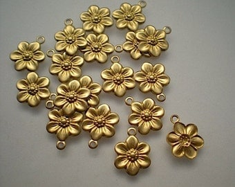 18 tiny brass flower charms