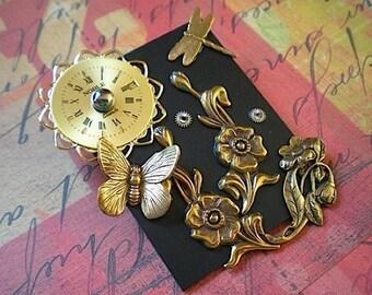 Blossom time - mixed media brooch pin