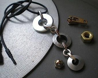 Circulation - industrial hardware necklace