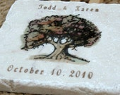 Personalized Fall Tree Wedding Favor Coasters, Set of 40