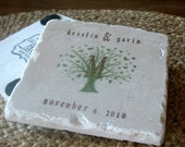 Monogram Butterfly Tree Wedding Favor Coasters, Set of 20
