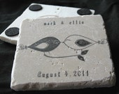 Personalized Black and White Love Bird Wedding Favor Coasters - Set of 35