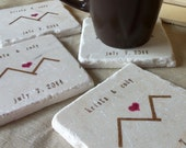 Personalized Rustic Mountain Wedding Favor Coasters - Set of 75