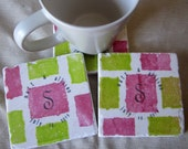 Monogram Wedding Favor Coasters, Set of 25, Pink and Green