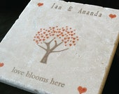 Personalized Autumn Family Heart Tree Trivet - Personalized Family Keepsake