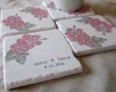 Personalized Hawaiian Coasters - Pink Hibiscus - Gift for the Couple - Set of 4