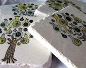 Holiday Pear Tree Tile Coasters - Christmas Home Decor - Set of 4