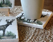 Personalized Deer Drink Coasters - Rustic Cabin Decor - For Him - Set of 4