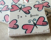 Personalized Heart Butterfly Coasters - Gift for the Couple -  Set of 4