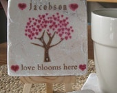 Love Blooms Here Tile Coasters - Set of 4 -